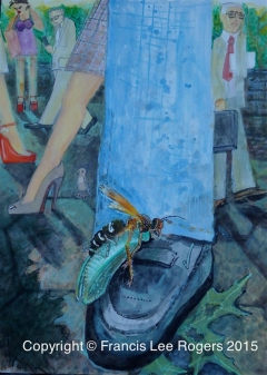 Cicada on a man's foot