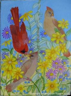 Late Summer Cardinal Family 102015