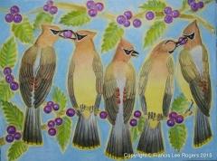 Cedar Waxwings sharing berries