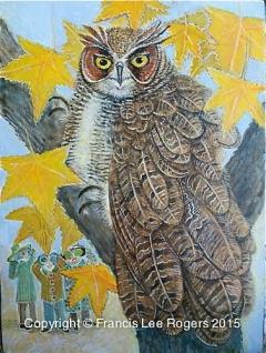Bird watchers observing Great Horned Owl
