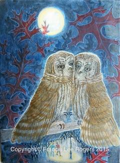 Barred Owl snuggles over a full moon