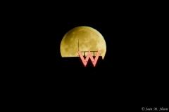 Super moon over the Hudson River