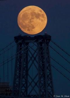 Hunter moon over the Williamsburg bridge